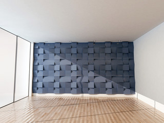 empty room with the a big window and the creative tiles on the wall, 3d