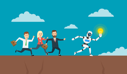 running business people chasing robot humanoid with lightbulb