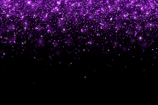 Purple falling glitter particles on black background, horizontal. Vector