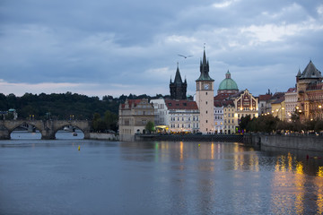Prague at night with Charles Bridge(Karluv Most)  over Vltava river