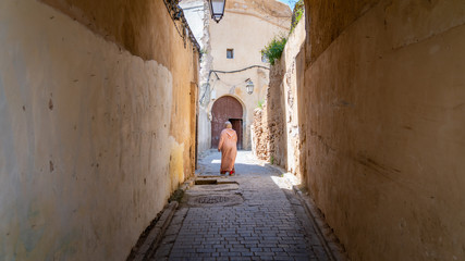 Anonymous woman in the street of Medina of Fez, Morocco.