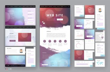 Fototapeta Website template design with interface elements obraz