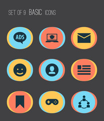 Social icons set with message, questionnaire, emoji and other picture