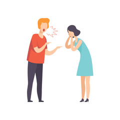Angry man screaming at crying woman, couple quarreling, family conflict, disagreement in relationship vector Illustration on a white background