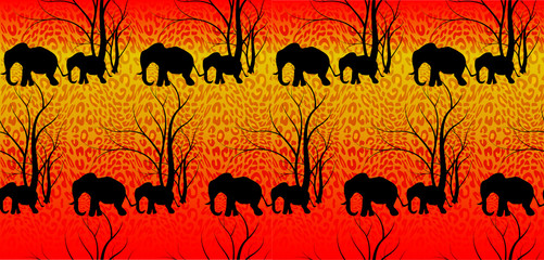 Batik tiger pattern with cute animal, Elephants. The elephant's baby with mother. A walk in the savannah, Vector flat background. Can be used for textile, website background, book cover, packaging