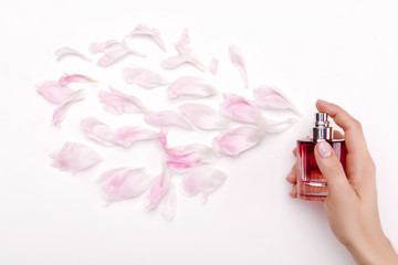 perfume and flower petals top view