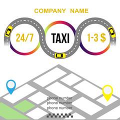 Taxi banner. Taxi, car, map. Vector illustration.