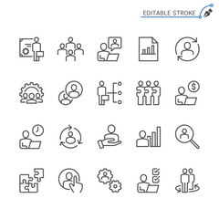 Business Management line icons. Editable stroke. Pixel perfect.