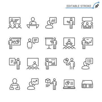 Business presentation line icons. Editable stroke. Pixel perfect.