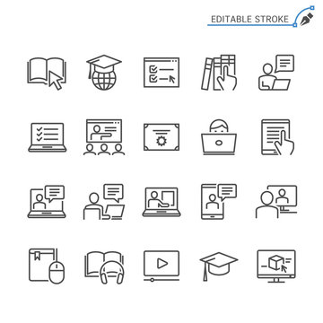 Online education line icons. Editable stroke. Pixel perfect.