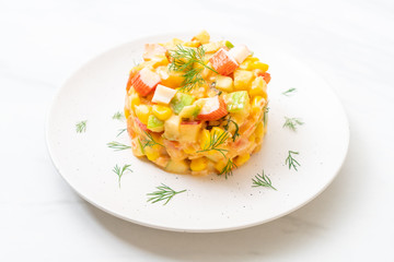 mixed fruit salad with crab stick (apple, corn, papaya, pineapple)
