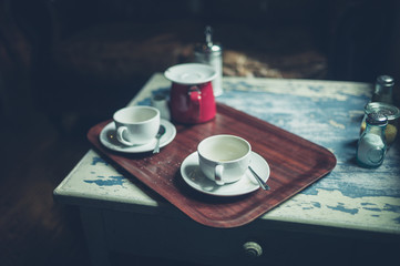 Empty cups of coffee on a table