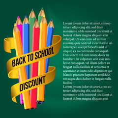 welcome back to school with pencil color with golden ribbon banner,