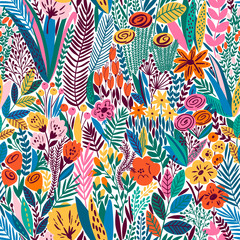 Bright tropical leaf seamless pattern. Vector illustration