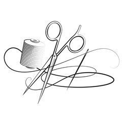 Scissors and needle with thread