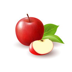 Isolated realistic colored red apple slice and whole juicy fruit with green leaves and shadow on white background.