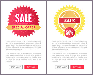 Special Offer Sale Round Stickers on Leaflets Text