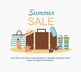 Summer suitcase and Beach Accessories on sand. Summer sale Vector illustration