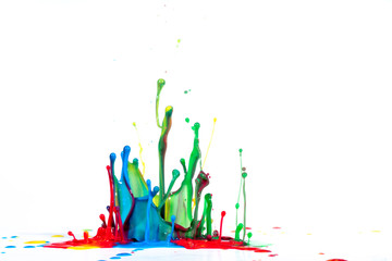 Splash of color ink on white background