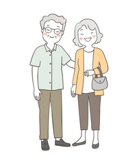 Draw elderly senior grandmother and grandfather happy together
