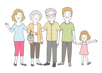 Draw happy big family elderly senior,mom,dad and girl