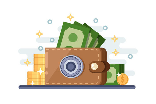 Saving and protection money deposit. Vector flat illustration of leather wallet with lock safe.