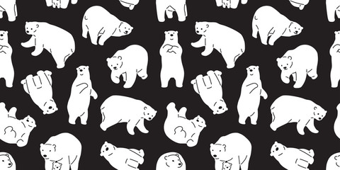 bear seamless pattern vector polar bear panda teddy scarf tile background wallpaper repeat isolated black