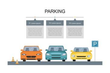 Parking lot design. Park icon. infographic