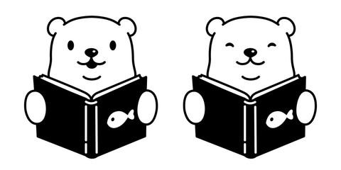 bear vector polar bear reading book cartoon character logo icon illustration