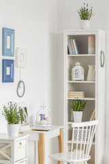 Real photo of a white living room interior with  desk, chair, shelf and plants