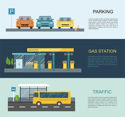 Transportation infographics. Gas station, bus, parking .Vector flat illustration