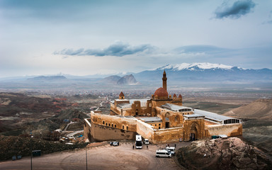 Ishak Pasha Palace, a semi-ruined palace and administrative complex located in Dogubeyazit district of Agri, Eastern Turkey