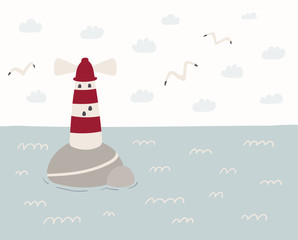 Printed kitchen splashbacks Illustrations Hand drawn vector illustration of a cute sea landscape with lighthouse, seagulls, clouds. Scandinavian style flat design. Concept for kids, nursery print.