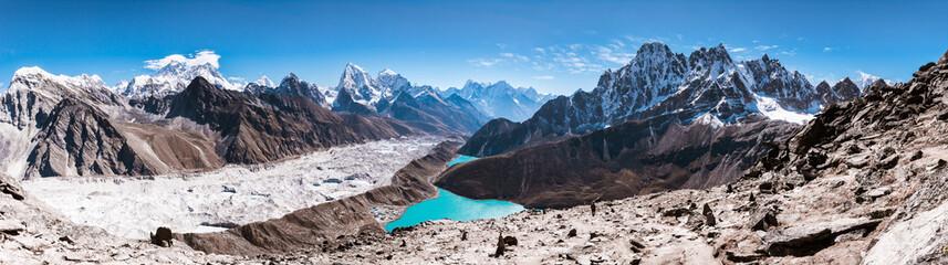 Panoramic view of Himalayan Mountains from Gokyo Ri (5,360m) with Gokyo Lake, Everest, Nuptse, Lhotse, Phari Lapcha and More, Gokyo, Sagarmatha national park, Everest Base Camp 3 Passes Trek, Nepal Wall mural