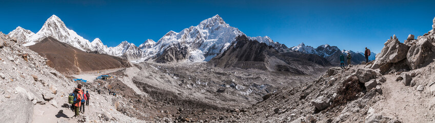Panoramic view of Gorakshep, Kala Patthar, Khumbu Glacier, Nuptse (in the middle) and Himalayan Mountains before reaching to Gorakshep, Sagarmatha national park, Everest Base Camp 3 Passes Trek, Nepal