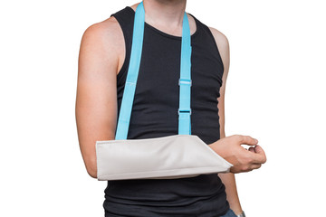 Injured man is wearing medical sling on his arm. Isolated on white background.