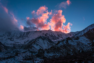The pink cloud at a sunset time from Tilicho Base Camp (4,150m), Annapurna Circuit Trek, Nepal