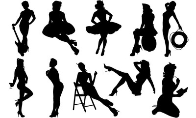 Pinup Girls Silhouette | Sexy Model Vector | Retro attractive Woman| Clipart Clip art Logo