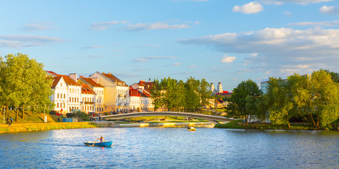 Poster Europe de l Est View of the city of Minsk at sunset. Nemiga District. Belarus