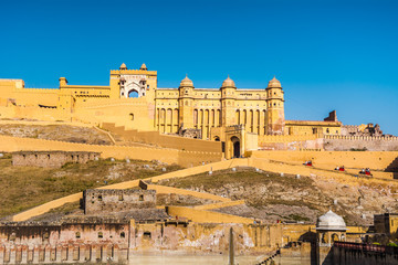The Amber Palace (Amer Fort), The structure built with Hindu and Muslim elements, it's also offering elephant rides. Located in the north of Jaipur, Amer, Rajasthan, India