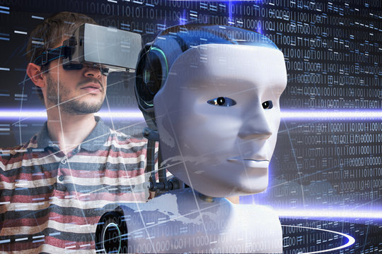 Young scientist is controlling robotic head. Artificial intelligence concept.