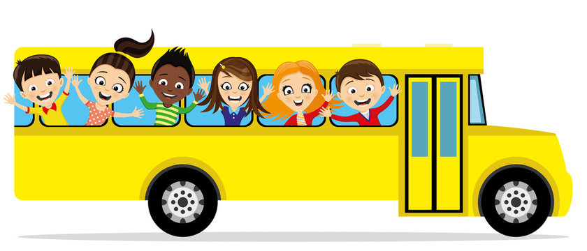 Group of school children in a school bus on a white background.