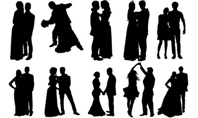 Prom Couple Silhouette | Ballroom Dance Vector | Bride and Groom | Clipart Clip art Logo