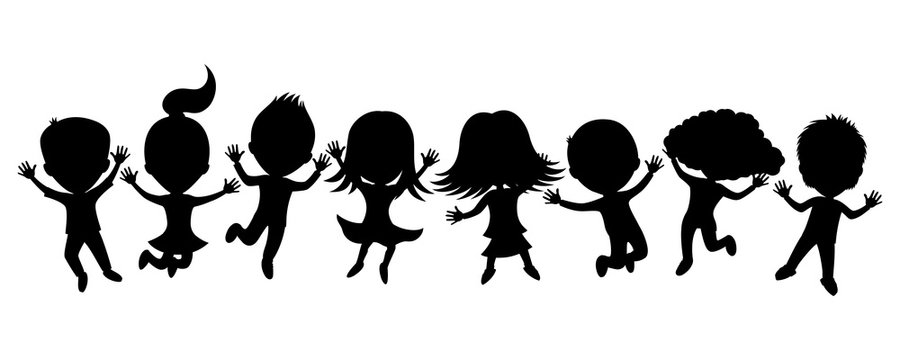 Cartoon silhouettes of children in a jump on a white background.
