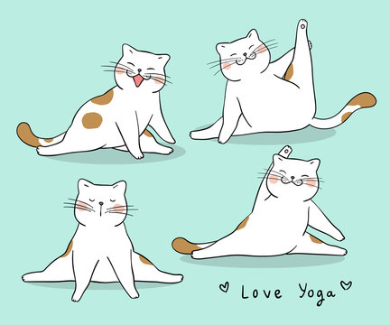 Draw funny cat playing yoga Isolated on green