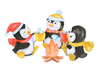 Watercolor Christmas penguins fry marshmallow at the bonfire. New year illustration isolated on white background. For greeting postcard