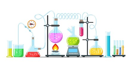 Chemistry lab equipment. Flasks, beakers and burner science instruments on white, vector chemical or biological research processing