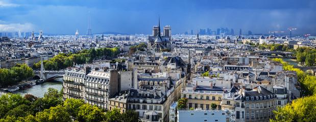 Poster de jardin Paris Paris aerial view before the storm. France.