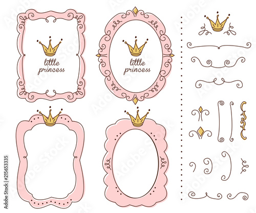 Set Of Cute Doodle Mirrors Princess Vector Element Of Design Pink