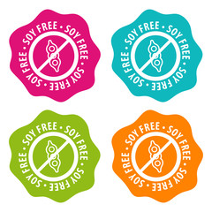 Wall Mural - Soy free Badges. Eps10 Vector.